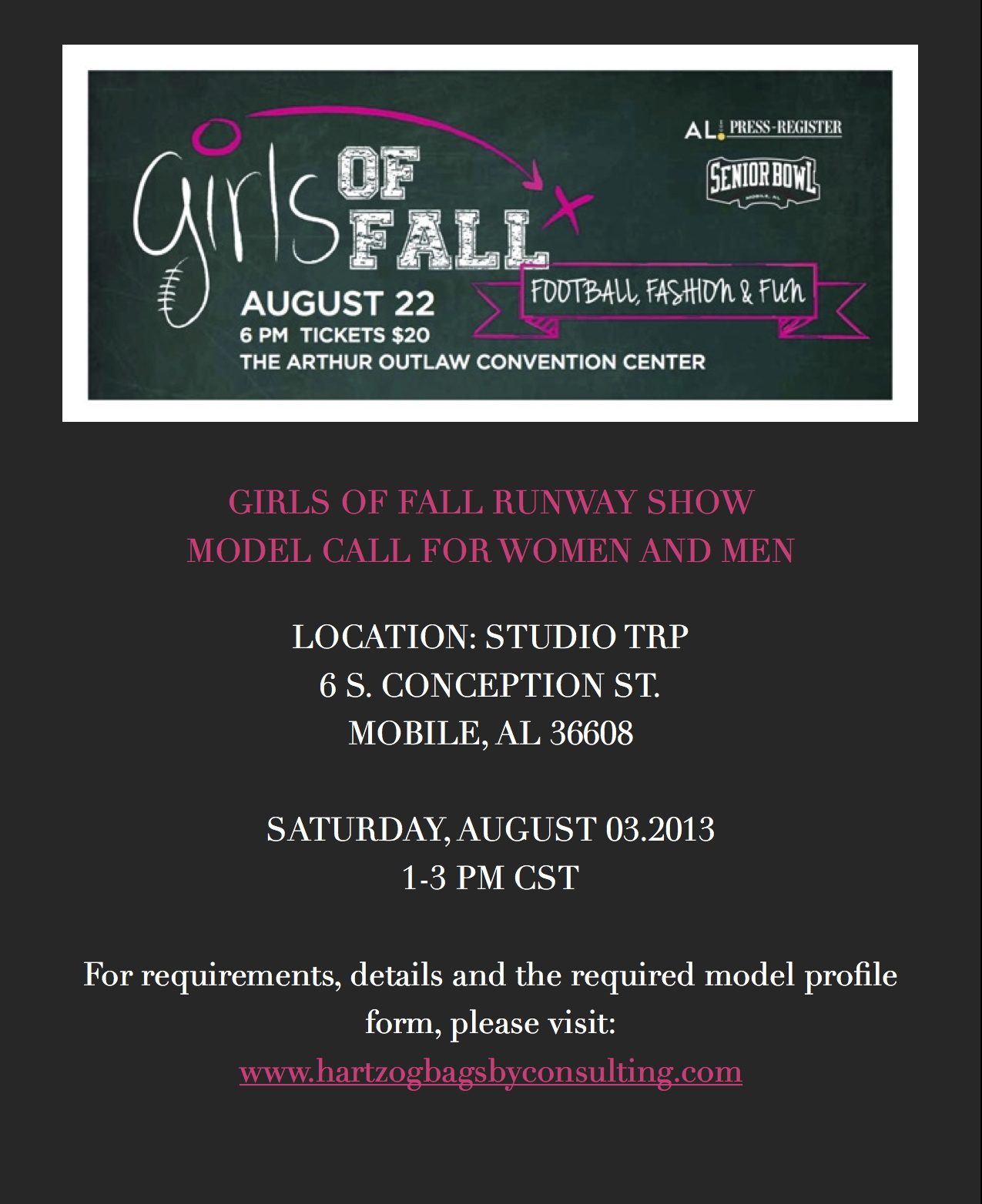 Model Call Location & Time Announced | Girls of Fall Fashion Show